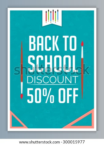 Nice and creative vector flyer for Back to School Discount 50% Off in a creative and seamless green color background with grey outlined. - stock vector