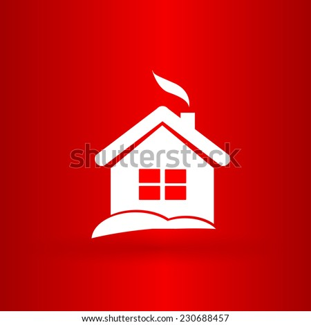 Nice and funny Christmas house on the red background - stock vector