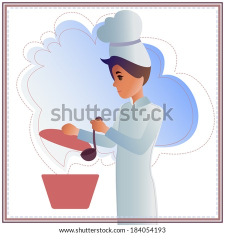 Nice background with Funny Chef . - stock vector