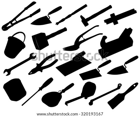 Nice big set of black and white silhouette construction tools Vectors Axe Brush Drill Hammer Jack plane Jerrican Key Mallet Pair of clippers Pliers Roulette Meter Ruler Screwdriver Trowel Wrench - stock vector