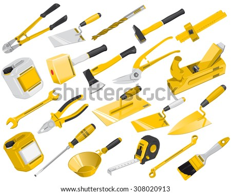 Nice big set of golden yellow construction tools - Vectors, Axe, Brush, Drill, Hammer, Jack plane, Jerrican, Key, Mallet, Pair of clippers, Pliers, Roulette Meter Ruler - Screwdriver - Trowel and Wrench - stock vector