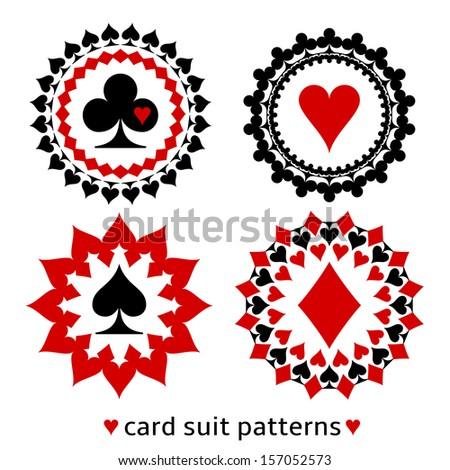 Nice card suit round patterns. Fancy elements of spade, heart, diamond and club for gambling design. - stock vector