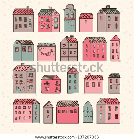 Nice cartoon houses in vector. Cute living set in pink colors - stock vector