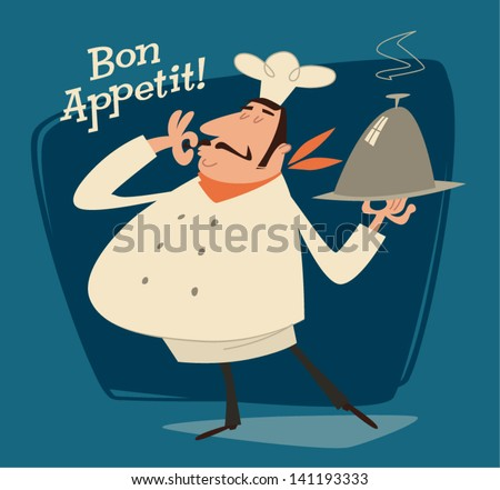 Nice Chef serving the dish. Retro style vector illustration - stock vector