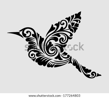 Nice, clean, and smooth vector. Flying bird with floral ornament decoration. Good use for tattoo, symbol, wallpaper, sticker, or any design you want. Easy to use, edit, or change color. - stock vector