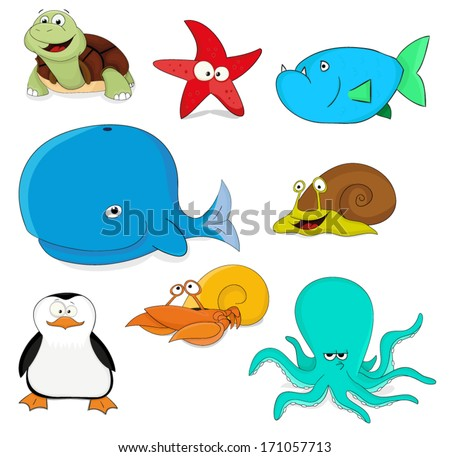 Nice collection of cartoon vector ocean animals - stock vector