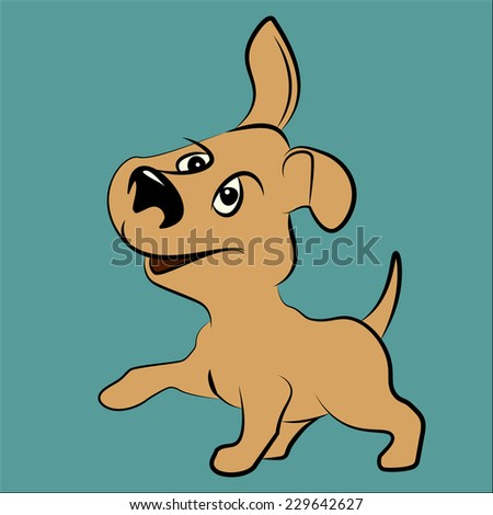 nice, cute dog with pleasure looks and smiling. emotional animal - stock vector