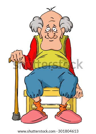 Nice elderly Grandpa is sitting on a small stool. - stock vector