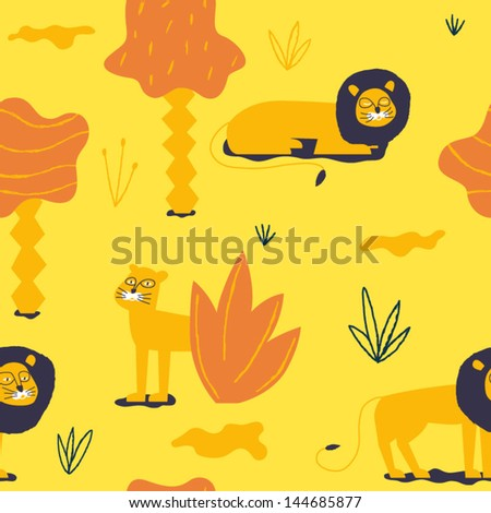 Nice lions in the African sunny landscape. Vector seamless background - stock vector