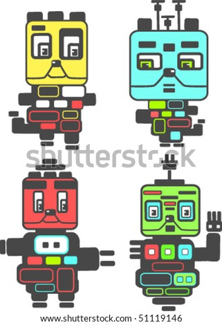 Nice little vector robots - stock vector