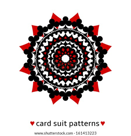 Nice ornament made from card suits. Ruby diamond suits play on black. - stock vector