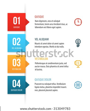 Nice vector numbered list template with colorful squares. Clean white background with copy spaces for your text, icons and headers. - stock vector