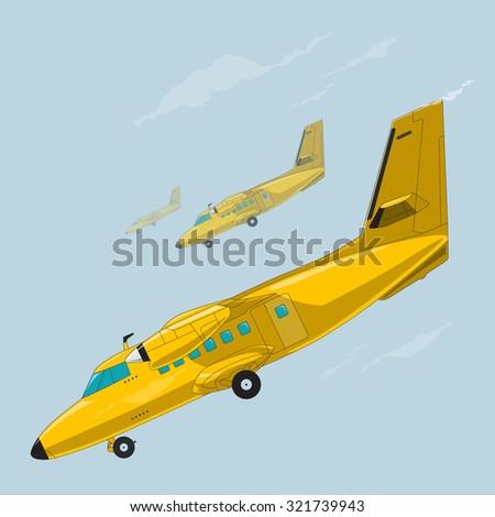 Nice yellow golden airplane on sky, flying plane - stock vector