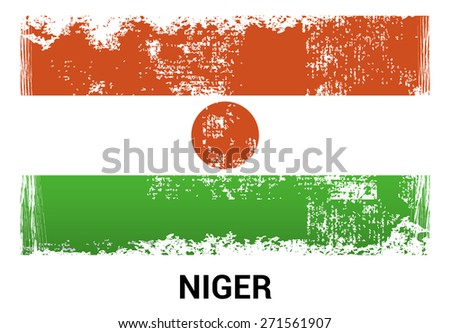 Niger grunge flag isolated vector in official colors and Proportion Correctly. country's name label in bottom. Vector Illustration - stock vector