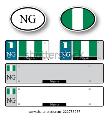 nigeria auto set against white background, abstract vector art illustration, image contains transparency - stock vector