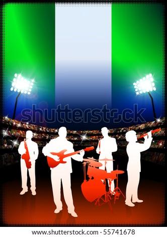 Nigeria Live Music Band on Stadium Concert Background with Flag Original Illustration - stock vector