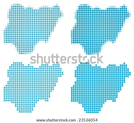 Nigeria map mosaic set. Isolated on white background. - stock vector