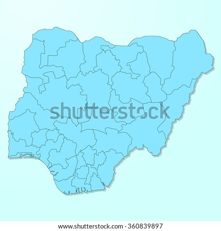 Nigeria map on blue degraded background vector - stock vector