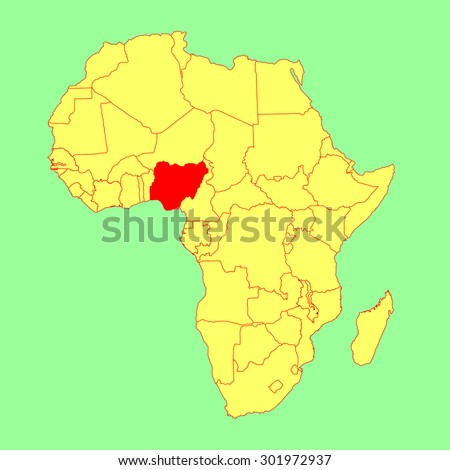 Nigeria vector map isolated on Africa map. Editable vector map of Africa.  - stock vector