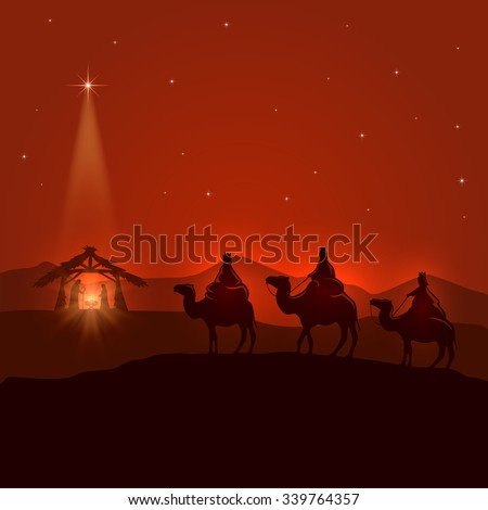 Night background with Christian Christmas scene, three wise men, birth of Jesus and shining star, illustration. - stock vector