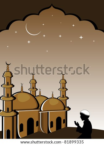night background with man praying in front of mosque - stock vector