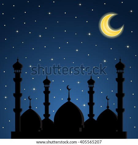 Night background with mosque silhouette. Vector illustration.