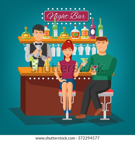 Night bar flat shadow design concept with barman behind bar girl and young man with wineglasses vector illustration - stock vector