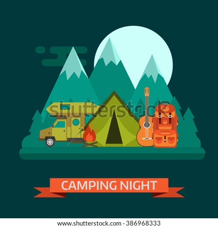 Night campsite concept landscape. Campsite place with camper van, tourist rucksack, guitar, campfire, forest, mountains and moon. Wilderness campsite area background. Mountain campsite vector. - stock vector