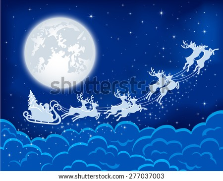 Night Christmas background with Santa, deers and moon, illustration. - stock vector