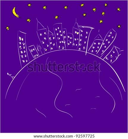 Night city background cartoon sketch vector illustration - stock vector