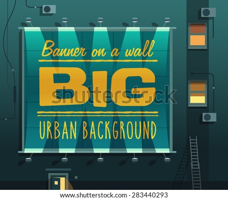 Night city. Banner on a wall. Vector illustration. - stock vector