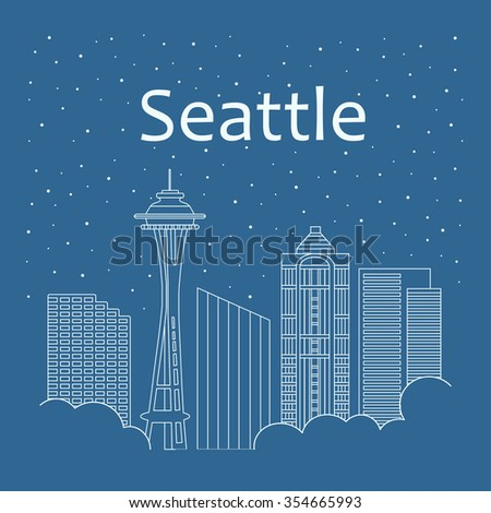 Night city in a flat style for banners, posters, illustration, games. Metropolis in a flat style - the snow is falling. Night life and starry sky in Seattle. Building city of Seattle - line style - stock vector
