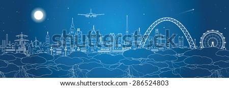 Night city in the clouds, vector design illustration - stock vector