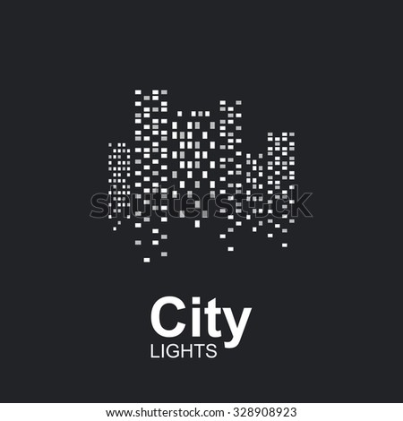 Night city lights icon. - stock vector