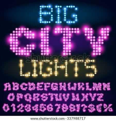 Night city lights lamp neon sign style bold violet font. Vector alphabet - stock vector