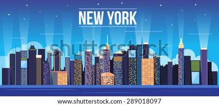 Night City New York Landscape. - stock vector