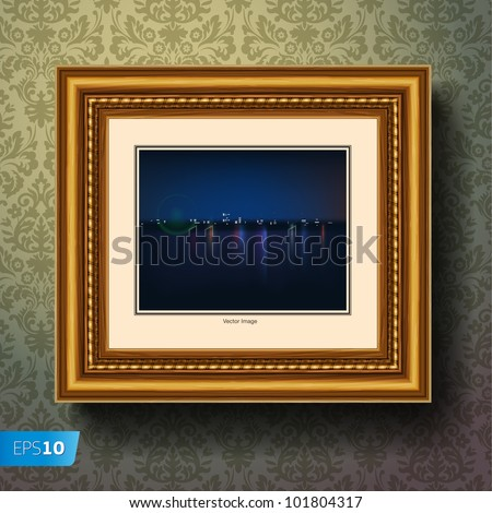 Night city painting or picture in image frame on a wall, vector Eps 10 illustration. - stock vector