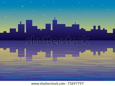 night city panorama picture - illustration - stock vector