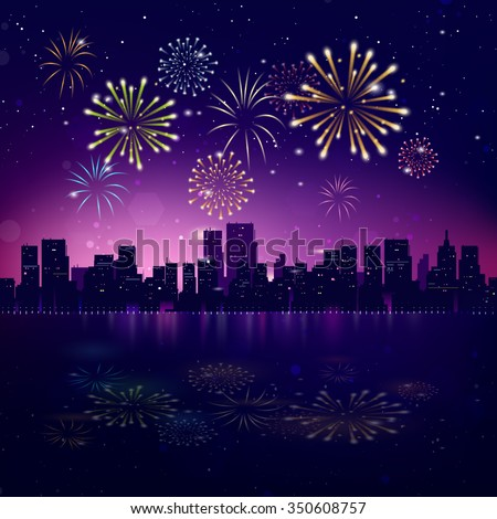 Night City Skyline with Fireworks. Vector Holiday Cityscape Background - stock vector