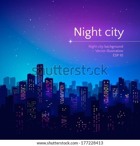 Night city. Vector illustration. - stock vector