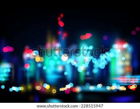 Night city with blured lights. Background. Vector eps 10 - stock vector