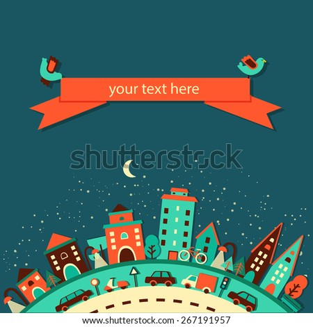 night city with cars, trees, moon and birds, landscape, greeting card, vector illustration - stock vector