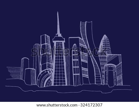 Night cityscape - stock vector