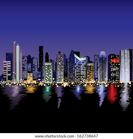 Night cityscape beside a river. - stock vector