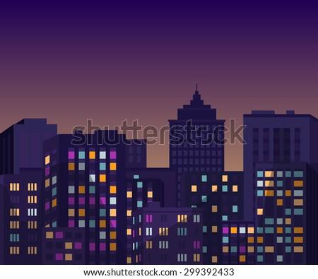Night cityscape. Vector illustration. - stock vector