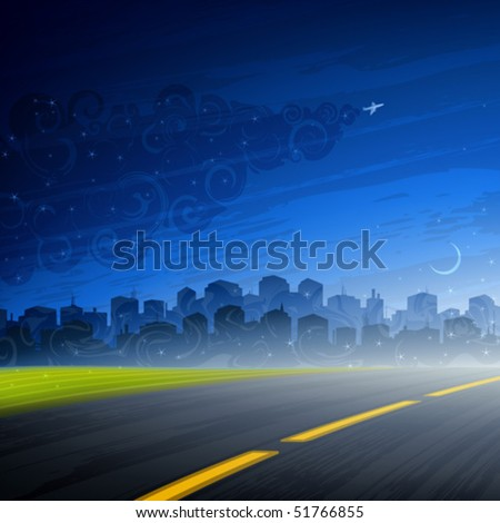 Night comes - empty road and a big city under late evening sky (AI-optimized EPS 8 file, other landscapes are in my gallery) - stock vector