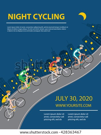 Night cycling poster or flyer with bicyclists and city, vector illustration - stock vector