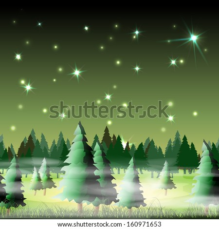 Night forest, vector illustration, eps10, 5 layers, easy editable - stock vector