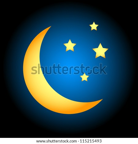 Night icon in unique style on a black background - stock vector