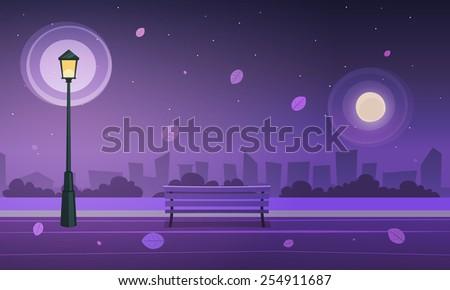Night in city park - stock vector